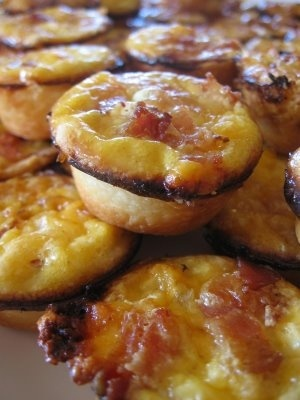 mini quiche--but with caramelized onions, spinach, and garlic instead ...