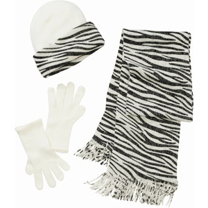 Women's 3-Piece Hat, Gloves and Scarf Animal Print Knit Set