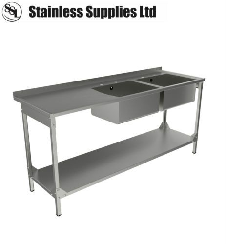 Commercial Catering Sinks : STAINLESS STEEL COMMERCIAL CATERING KITCHEN SINK 1800MM DOUBLE BOWL L ...