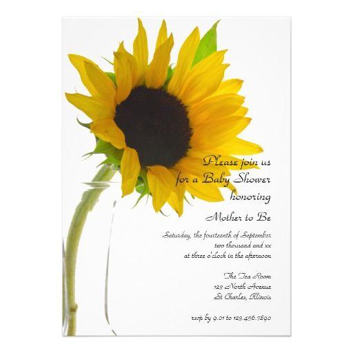 sunflower on white baby shower invitation