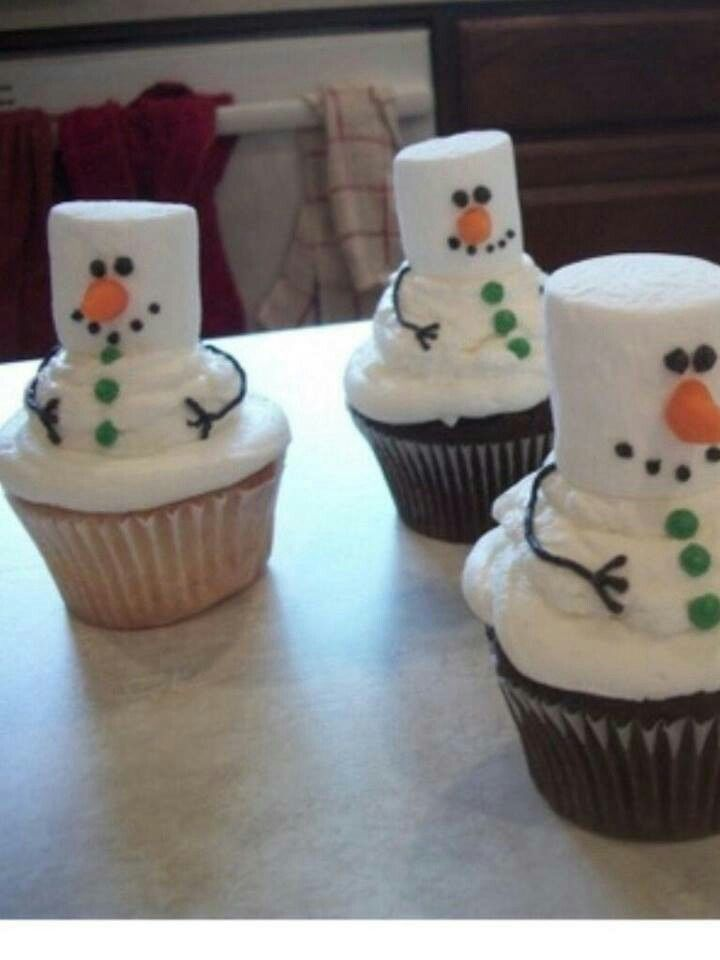 Snowman cupcakes | Cupcakes & cake pop Ideas | Pinterest