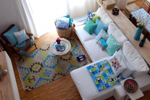 ... Perspektive, Tags Couch + Kissen + Grün + Türkis + Deko mit Kissen