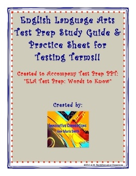 PDF25 Key Terms in Grammar and WritingWord Bank ProvidedThis FREE DOWNLOAD is a supplemental material that can be used with: ELA TEST PRE...