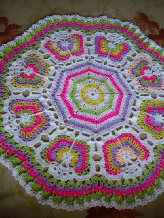Butterflies Crochet Blanket...Granny Squares Baby Afghan ...
