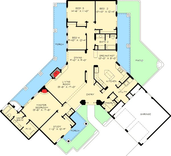 Southwestern home plan with unusual shape for Southwestern floor plans