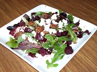 Baby Greens With Goat Cheese, Beets And Candied Pecans Recipes ...