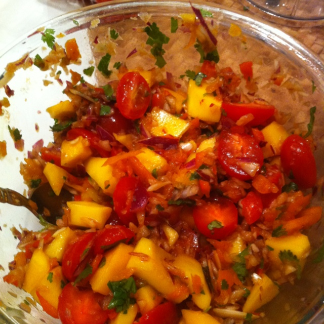 , red onions, tomato, red and yellow pepper, cilantro, avocado, lemon ...