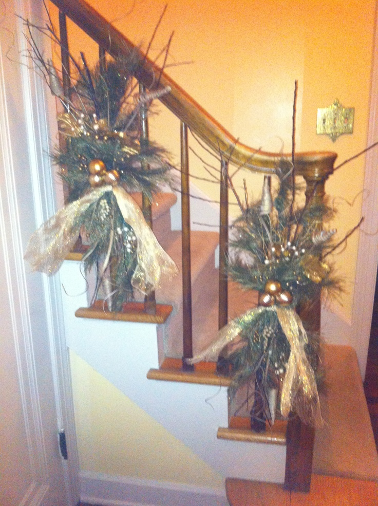 Decorating banister christmas pinterest for How to decorate a banister