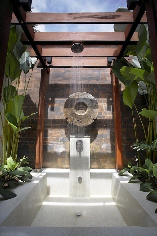 Outdoor bath you bring the wine pinterest for Outdoor bathroom designs