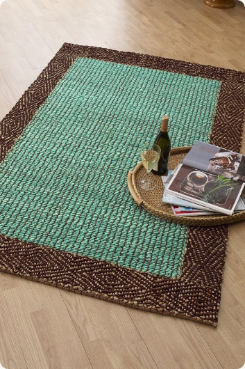 Area rug brown & turquoise