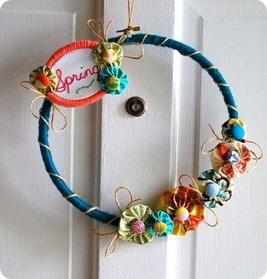 Spring Yarn Embroidery Hoop Wreath