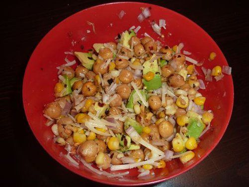 chickpeas, roasted corn, red pepper, red onion, and tomatillo ...