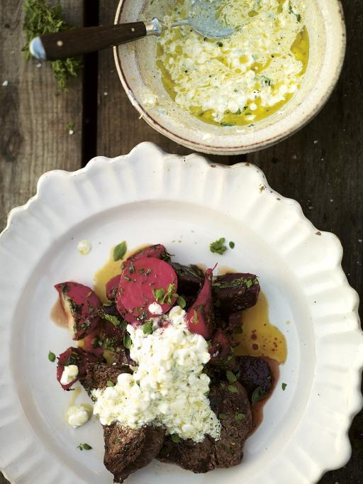 smoked beets with grilled steak & a cottage cheese dressing | Jamie ...