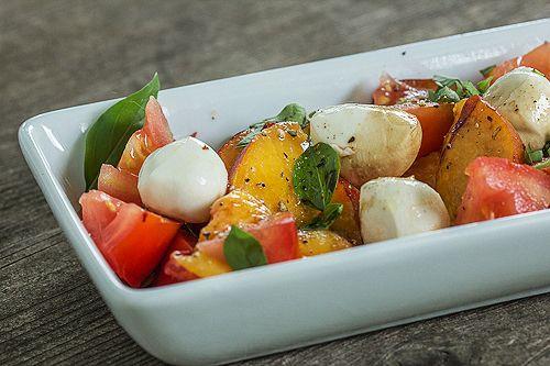 Peach, Tomato and Bocconcini Salad. #food #summer #salads
