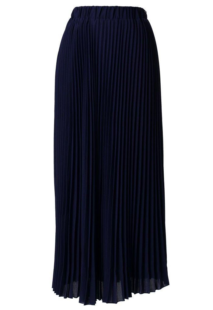 chiffon navy blue pleated maxi skirt fashion favorites
