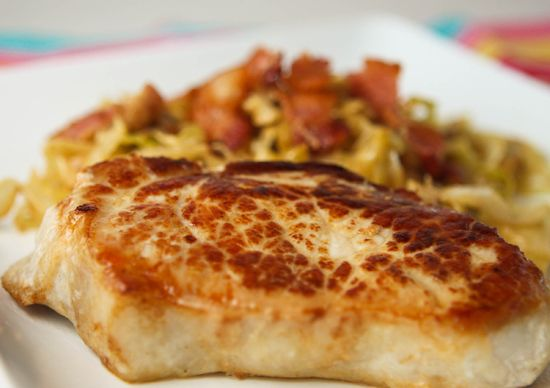 Pip & Ebby - Pip & Ebby - Pan-roasted pork chops with creamy cabbage ...