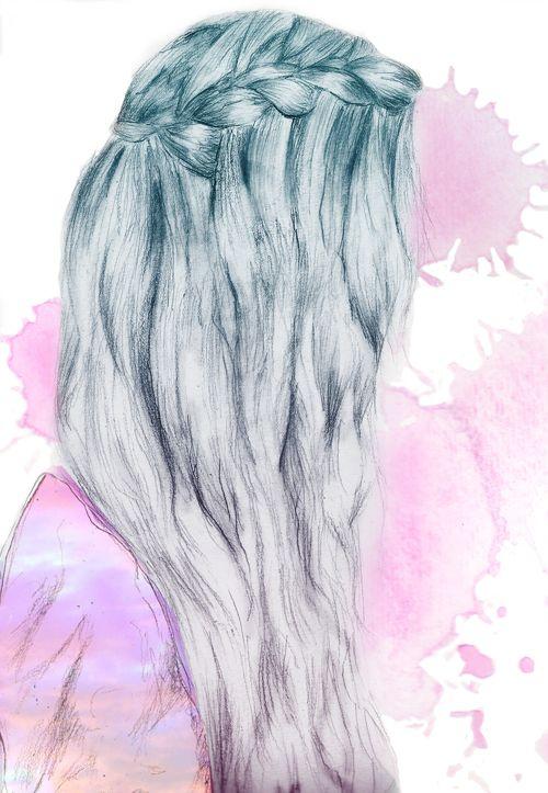 Tumblr hair braids drawing