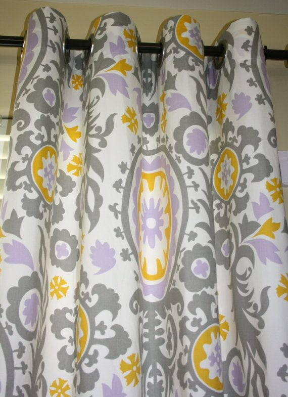 Wisteria Purple Gray Yellow 8 Grommet Curtain 2 Panels 54 X 84