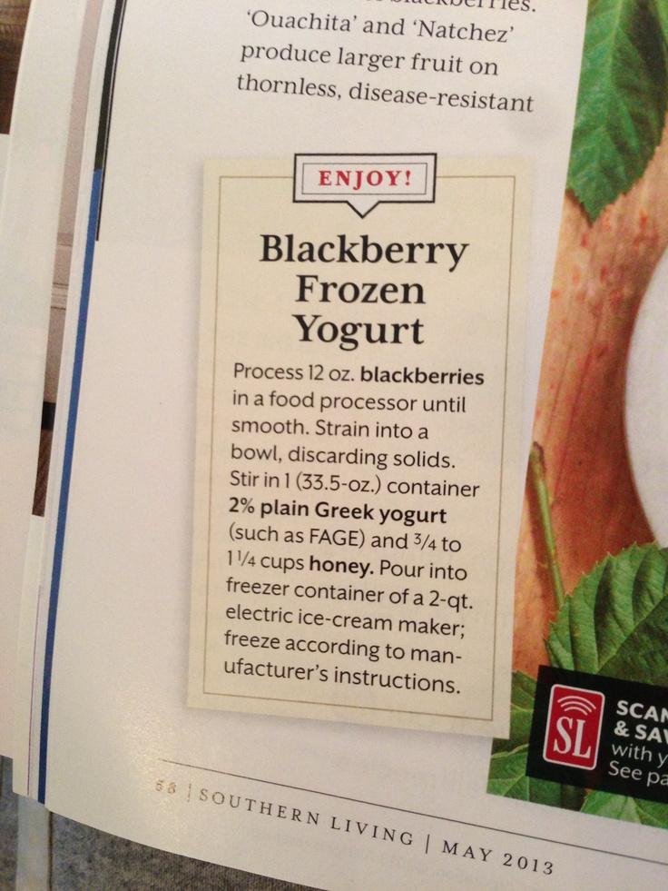 Blackberry Frozen Yogurt | food | Pinterest