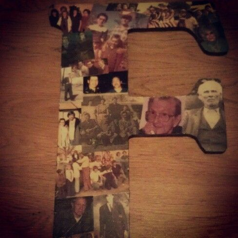 Created for our Family reunion: wooden letter, photos & modpop