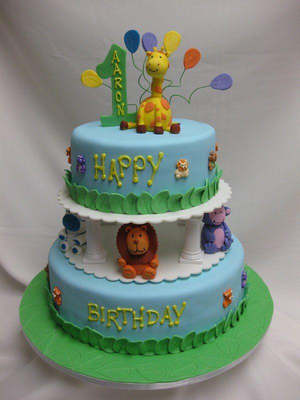 Zoo animals birthday cake cake decorating pinterest for Animal cake decoration ideas