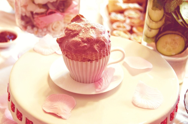 My Raspberry and Rose Water Souffle in a Tea Cup Mold. Cute!
