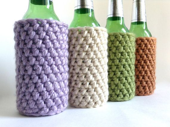 Crochet Patterns For Koozies : Crochet Koozie / Cozy - Lilac, Ivory, Green or Orange ...