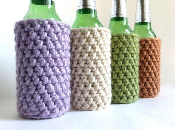 Crochet Koozie / Cozy - Lilac, Ivory, Green or Orange ...