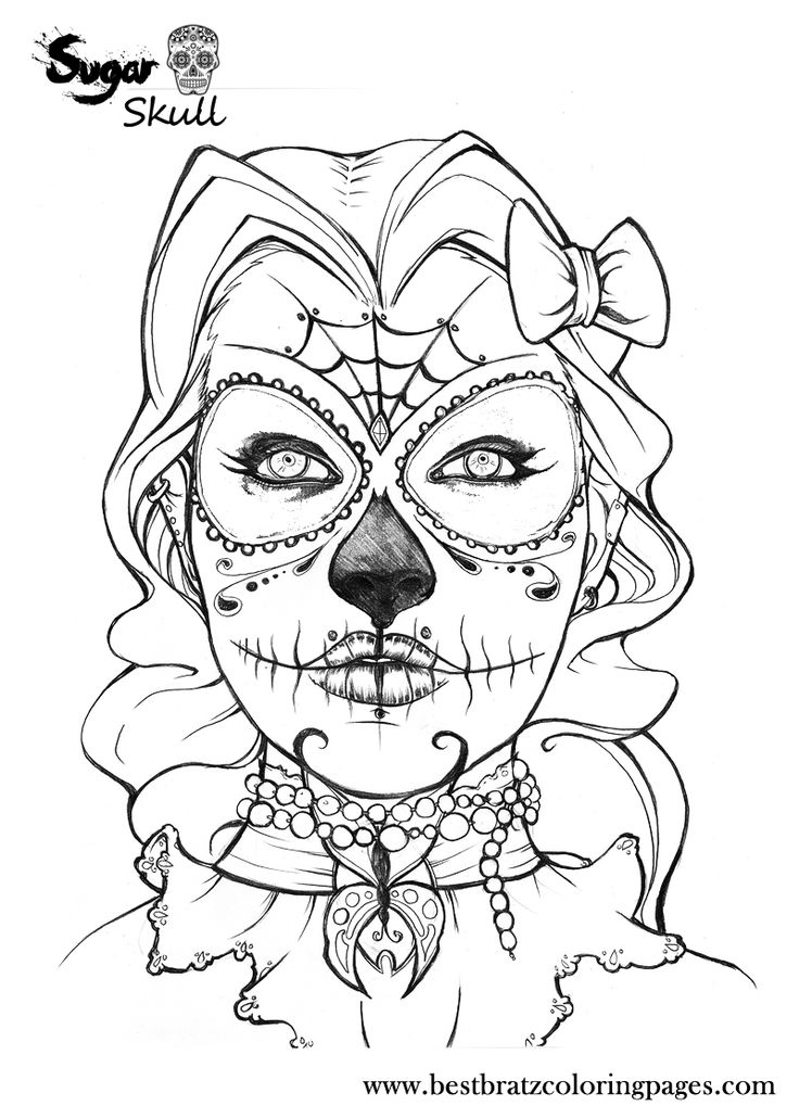 Free Coloring Pages Of Sugar Skull Girly Sugar Skull Coloring Pages
