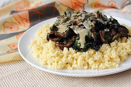 Creamy Tahini Mushrooms and Kale on a bed of fluffy millet!