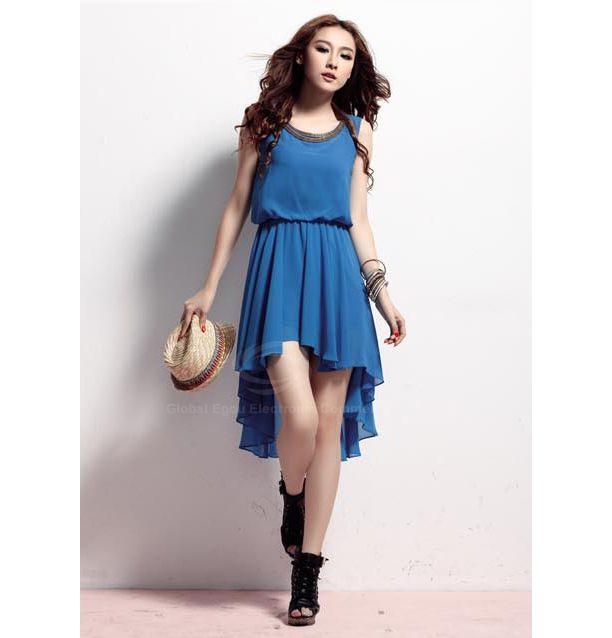 Cheap wholesale modern style womens chiffon dress with high low hem