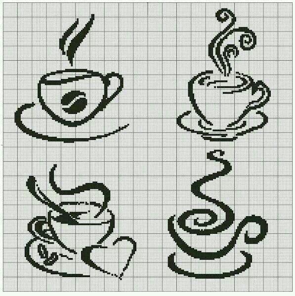 Вышивка крестом кофе схема 39