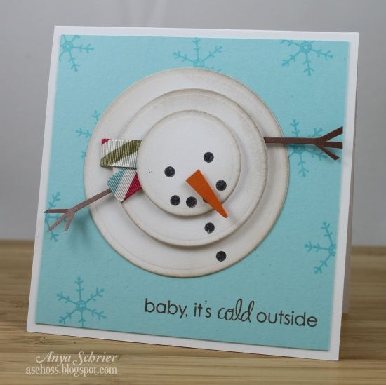 Love snowmen, 3 different size circles, ink the edges and cardstock for nose and arms, and ribbon for the scarf. Adorable