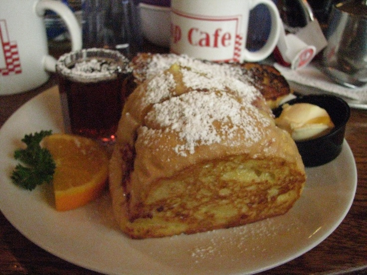 The Pump Cafe in Springfield - raspberry cream cheese stuffed french toast...mmmm.