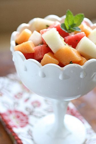 Melon Salad with Ginger-Mint Dressing for the perfect beach picnic salad!
