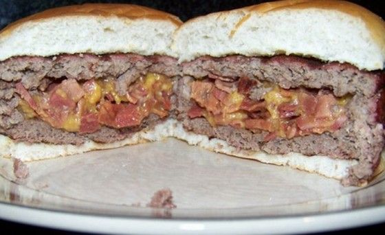 The Stuftz Burger - Burger stuffed with bacon and cheese.