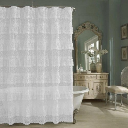 Sheer Lace Priscilla Ruffle Shower Curtain,Old-fashioned, Pink, White ...