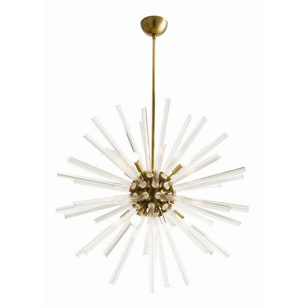 Glass Starburst Chandelier with Brass Sphere
