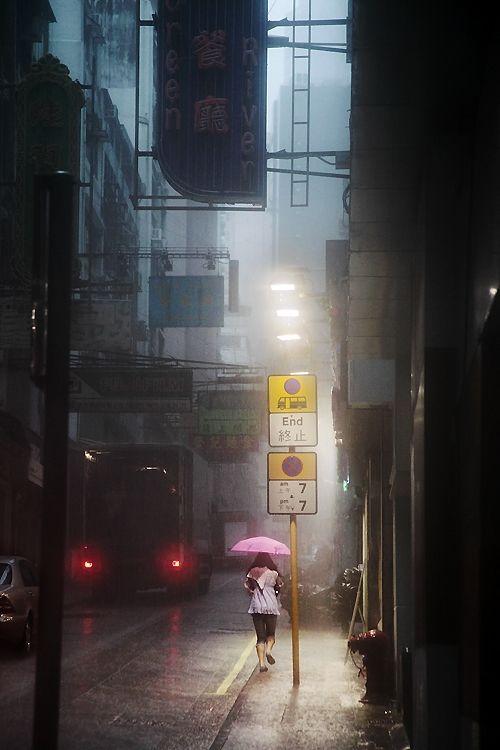 Hong-Kong in the Rain by Christophe Jacrot