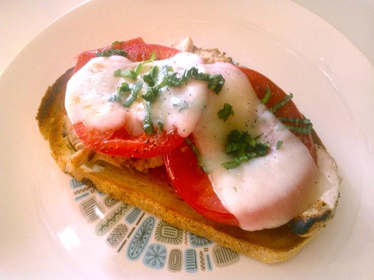 Chicken And Avocado Caprese Open Faced Sandwich Recipe — Dishmaps