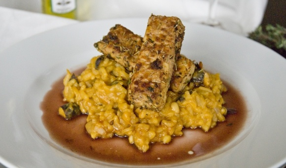 Seared Rosemary Tempeh with Sweet Potato and Shiitake Risotto Tempeh and Red Wine Reduction
