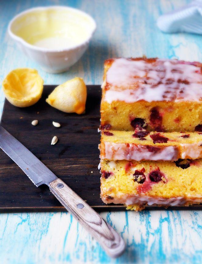Cranberry Lemon Cake with Lemon Icing recipe via foodess