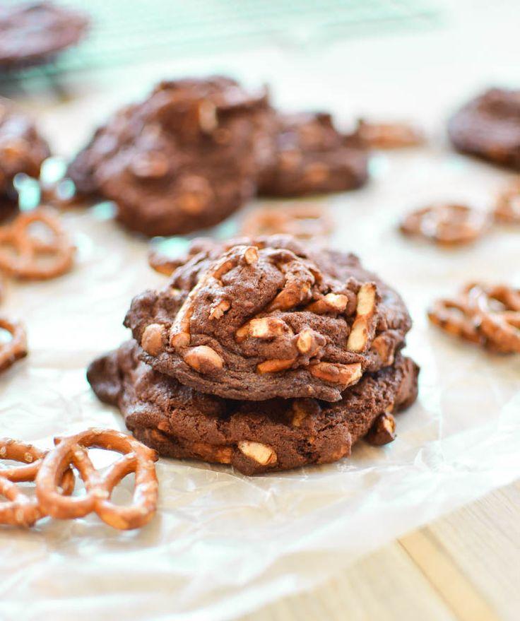 Loaded Chocolate Peanut Butter Pretzel Cookies | Recipe