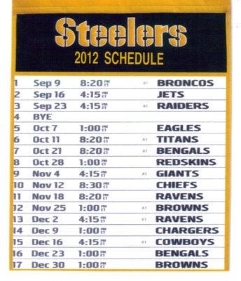 PITTSBURGH STEELERS 2012 SCHEDULE | Pittsburgh Steelers | Pinterest