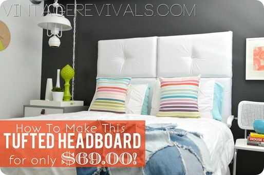 You can make this headboard for only $69.00!!  No more excuses for ugly bedrooms.  @ Vintage Revivals