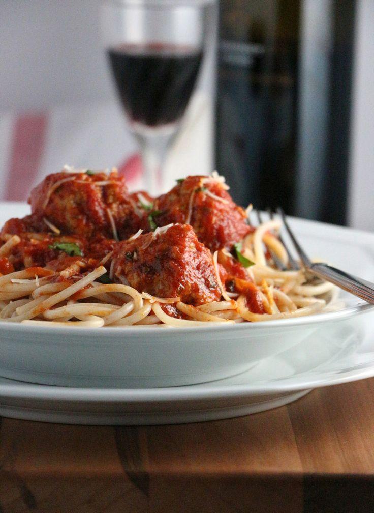 ... … Turkey Meatballs in Spicy Tomato Basil Sauce on Spelt Spaghetti