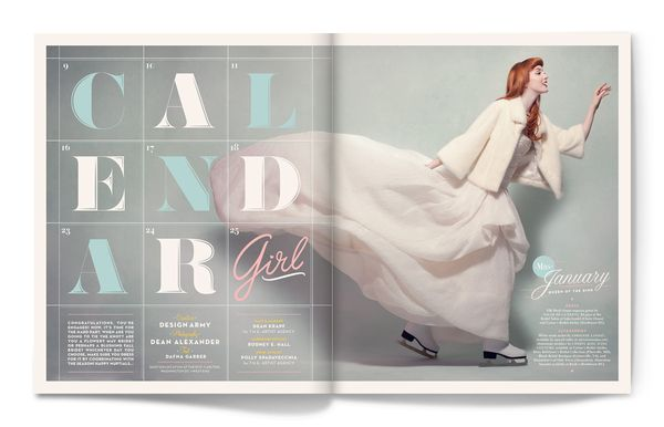Calendar Girl    Editorial spreads for the Winter / Spring 2012 cover story of Washingtonian Magazine's Bride & Groom issue. Designed at Design Army.    Art Director: Pum Lefebure  Photography: Dean Alexander  Client: Washingtonian Magazine