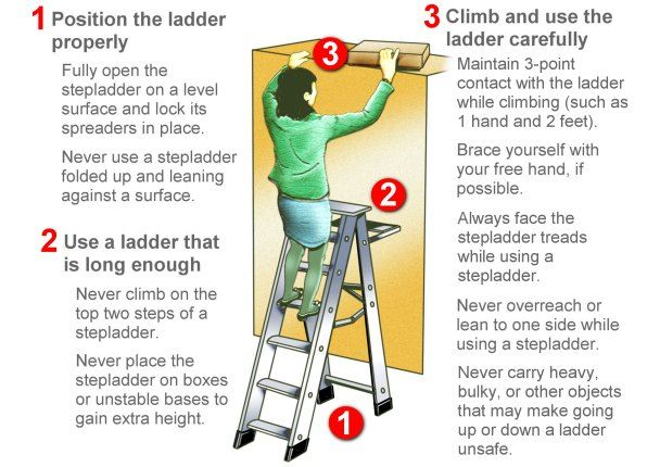 Falls from stepladders can kill safety accident for Ladder safety tips