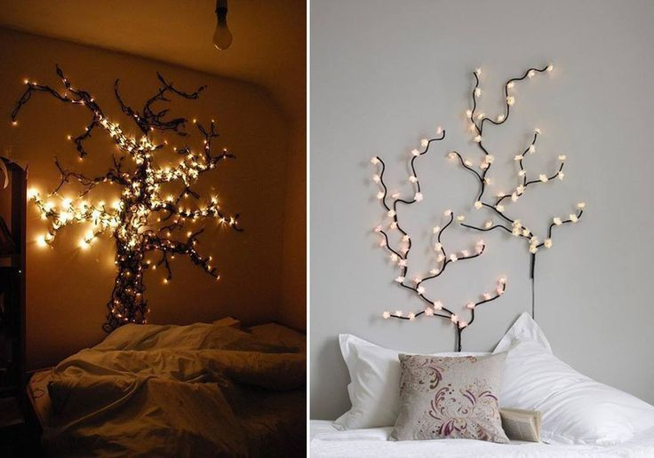Bedroom fairy lights idea new room pinterest for Room decor ideas with fairy lights