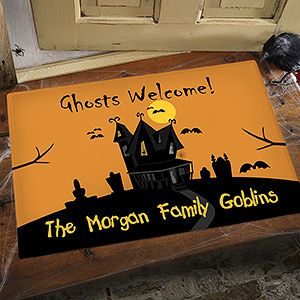 This Haunted House Personalized Doormat is perfect to have right outside your door for all the Trick or Treaters! LOVE LOVE LOVE it! Plus you can personalize it with any thing you want at the top or bottom so you can have some fun with it!